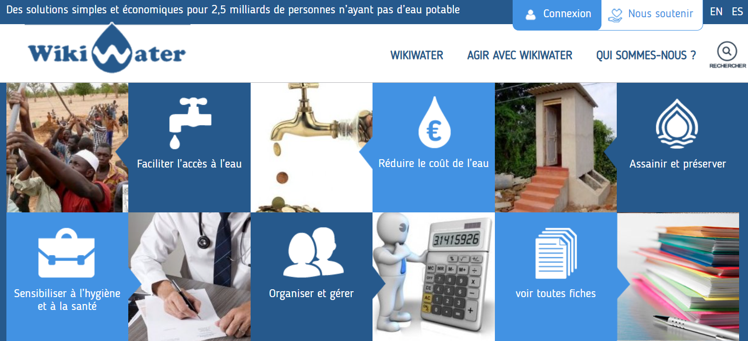 photo de la page d'accueil du site Wikiwater.fr